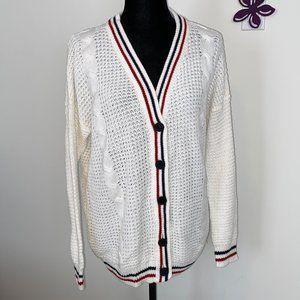 White Cardigan Sweater size Medium by Bluenotes